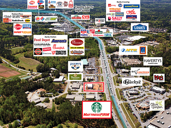 Starbucks and Mattress Firm - Aerial